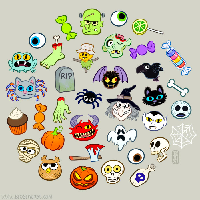 A few Halloween drawings I did for an iPhone application.