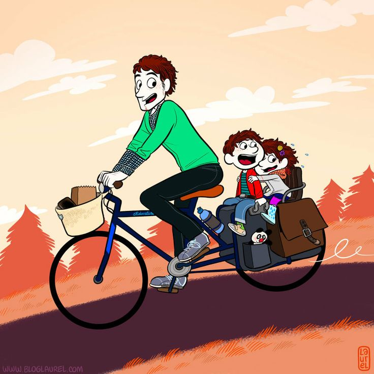 A father with his two children on a tandem!