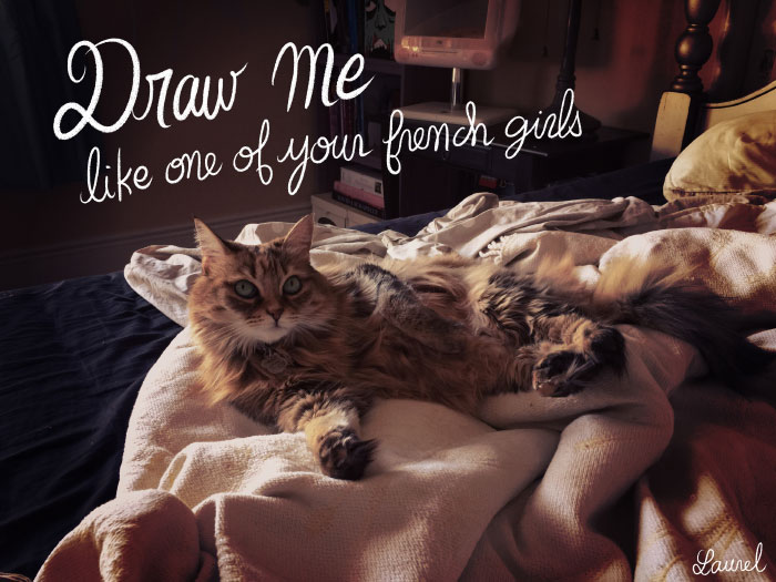 """Draw me like one of your french girls""... with a cat! (Titanic)http://bloglaurel.deviantart.com"