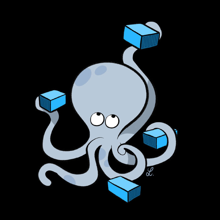 Octopus with Docker containers by Bloglaurel.