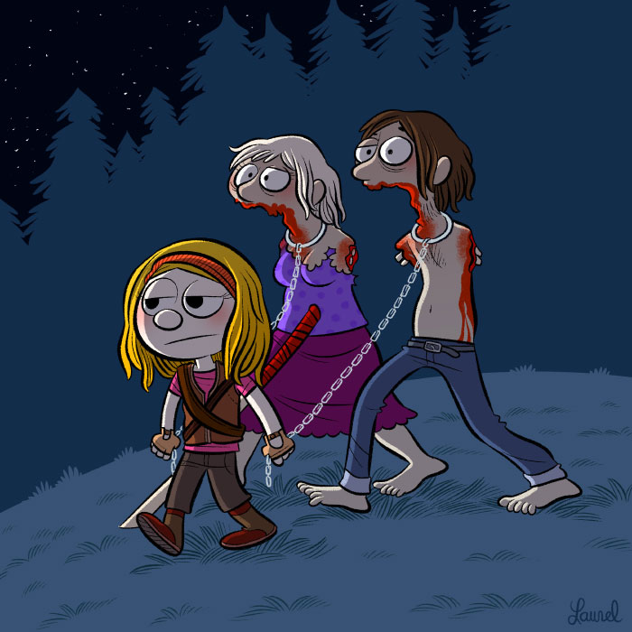 Michonne and her zombies, The Walking dead.
