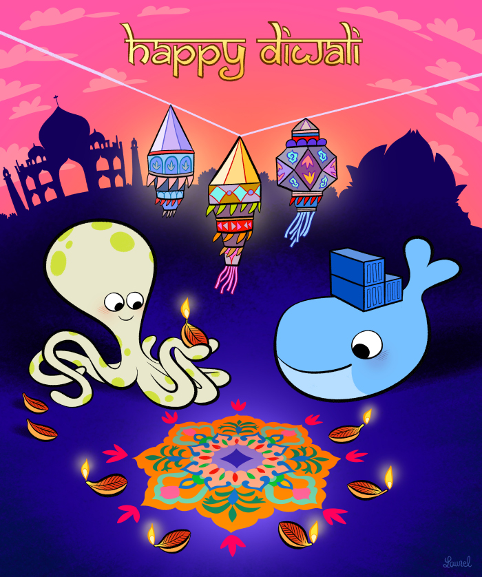 Happy Diwali ! - Laurel Duermael - Drawing for Docker